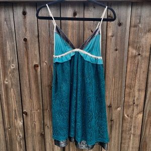 Free People Teal layer Mini Midi Dress S